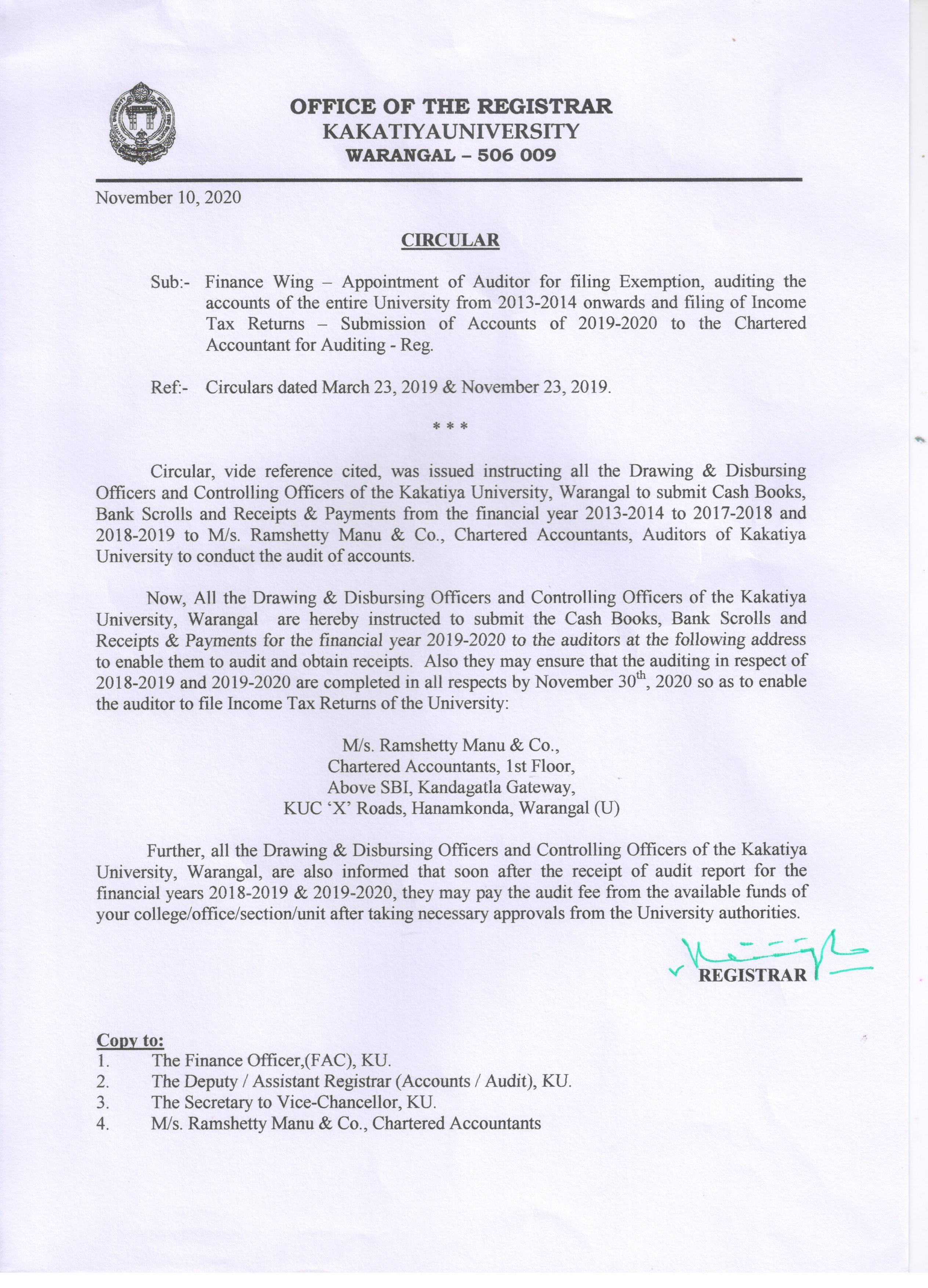 Ku Calendar 2022.Kakatiya University Warangal 506009 Telangana India