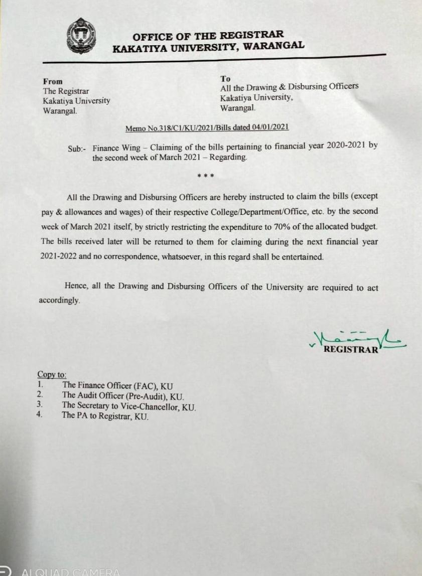 Ku Academic Calendar 2022.Kakatiya University Warangal 506009 Telangana India