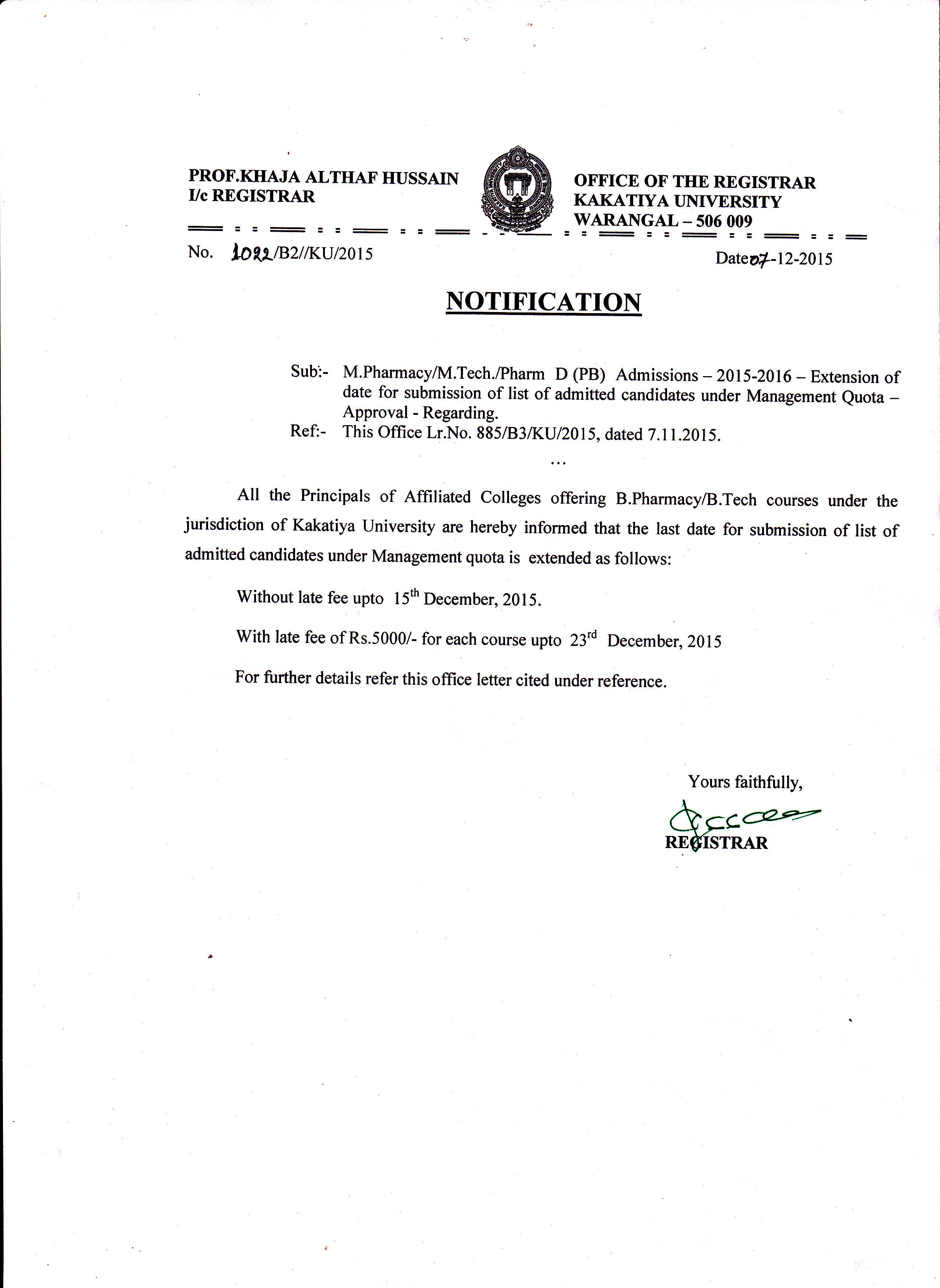 Kakatiya university warangal 506009 telangana india marmacymtechpharm d pb admissions 2015 16 extension of date for submission of list of admitted candidates under management quota thecheapjerseys Images